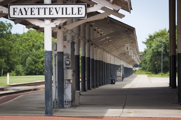 historic Fayetteville train station built 1911 on Hay St. has only one platform and two tracks, with service provided by Amtrak.
