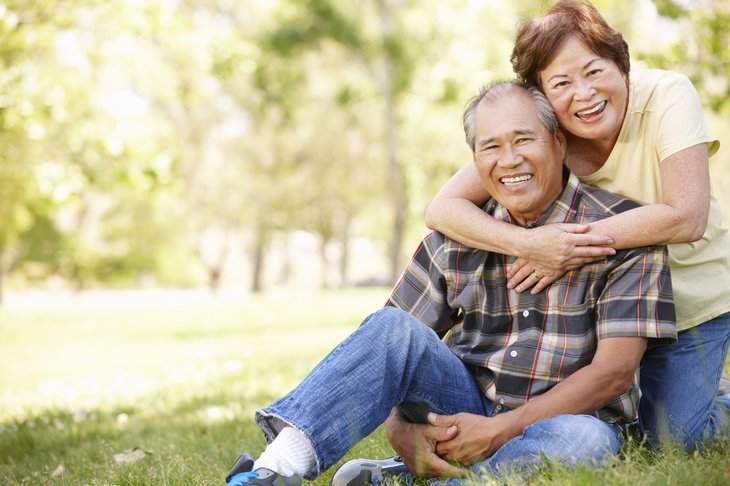 Retired Asian couple in casual attire