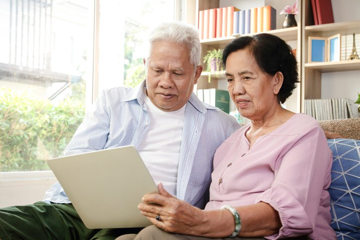 Senior couple on a computer
