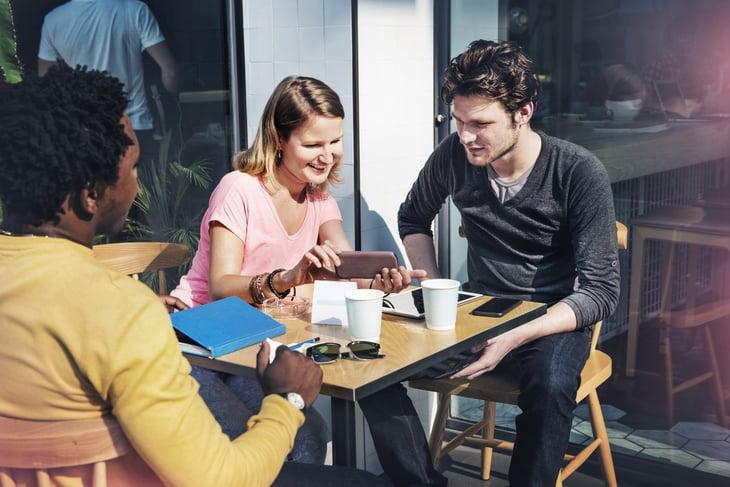 People Talking Digital Tablet table restaurant sunlight