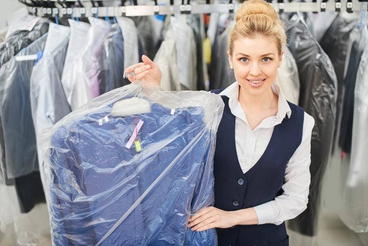 Woman at dry cleaners