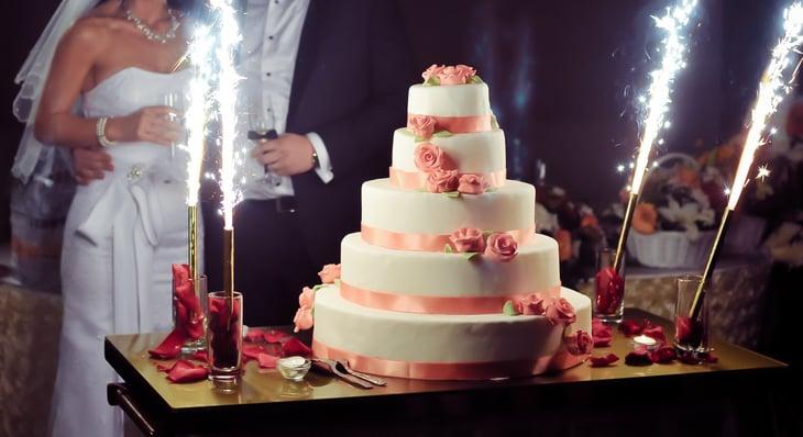 Elegant wedding cake reception
