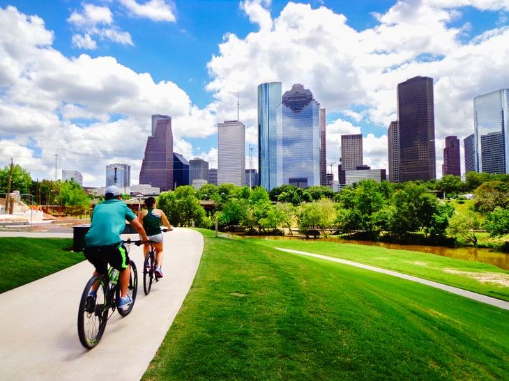Riding bikes in Houston