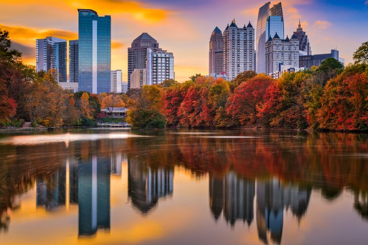 Atlanta, Georgia, Piedmont Park skyline autumn