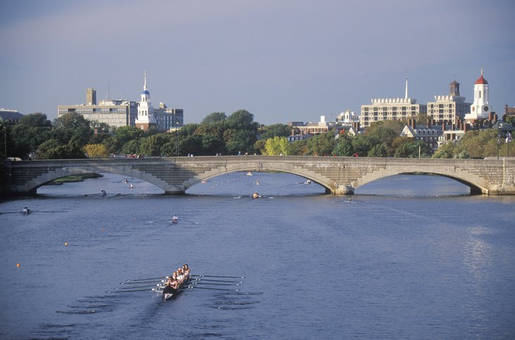Rowing on Charles River, Harvard & Cambridge, Massachusetts