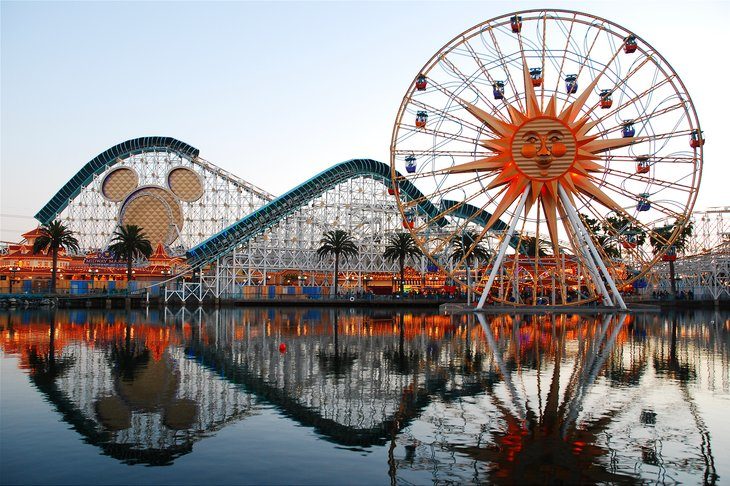 rides Paradise Pier Anaheim California reflected lake