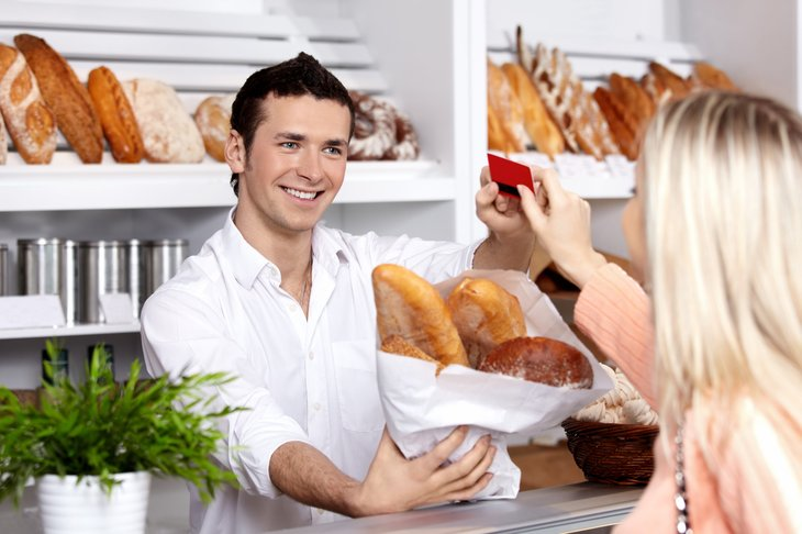 Buying at the bakery