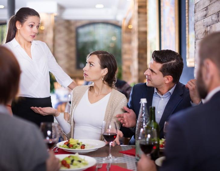 restaurant complaint concern diners expressing dissatisfaction waitress