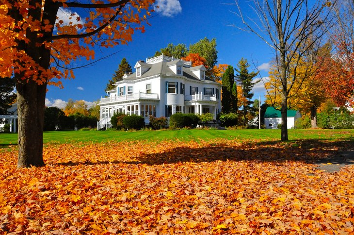 House in Derby Line, Vermont, in fall