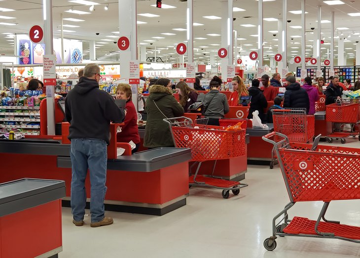 Shoppers in checkout lines at a Target store