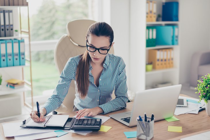 A female accountant works from home