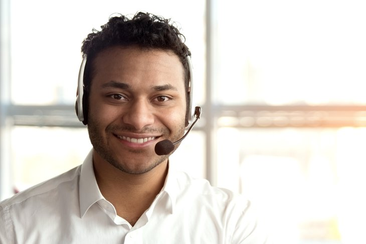 Worker in a headset