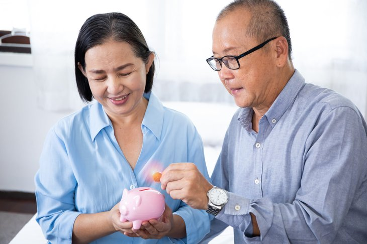 Retired couple saving money