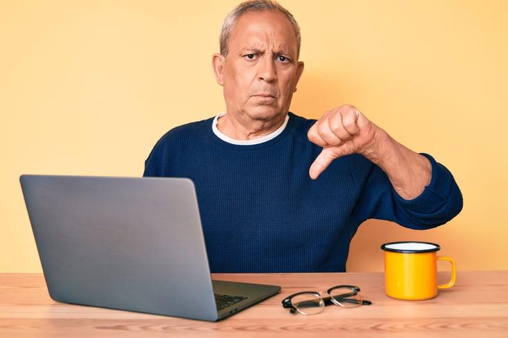 Unhappy older worker
