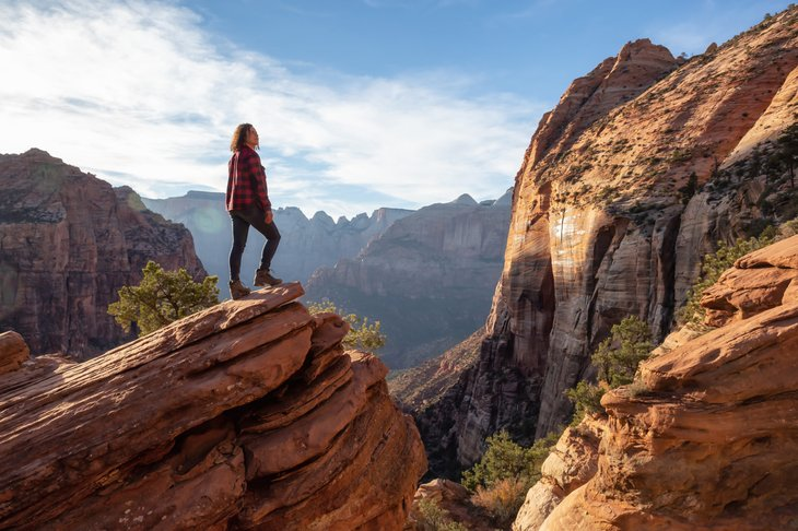 Woman hiking in Zion National Park