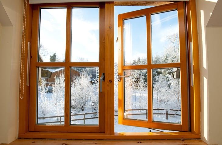 Winter view through a wood window