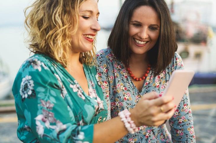 Women using a smartphone
