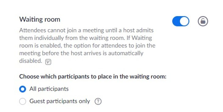 Screenshot of waiting room settings for a Zoom conference