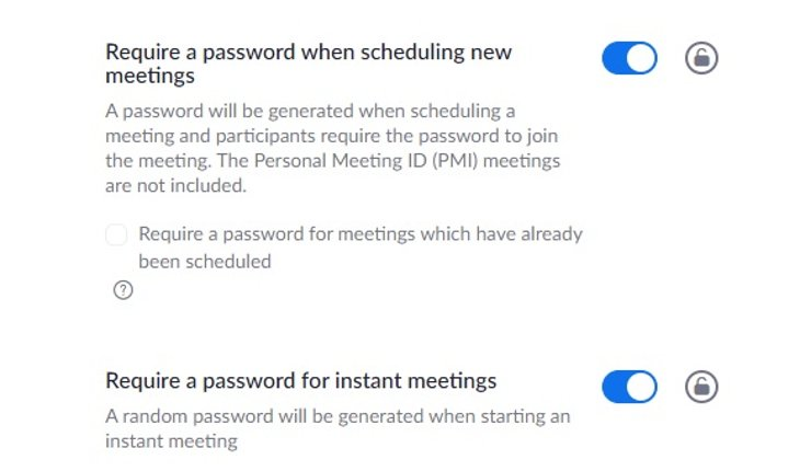 Screenshot of options to require a password