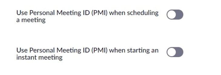 Screenshot of the personal meeting ID settings
