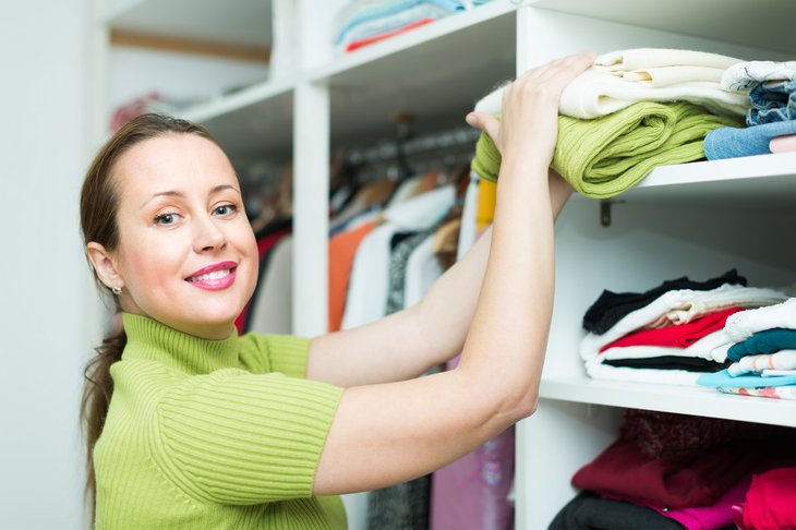 Woman organizing her home
