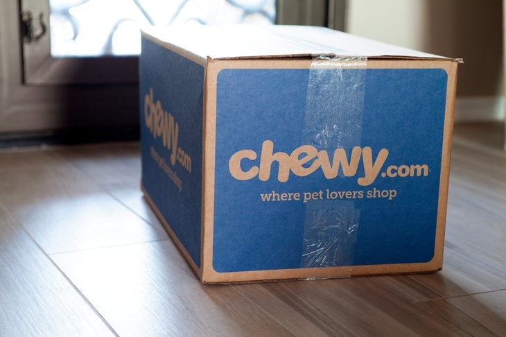 A box of pet supplies delivered from Chewy