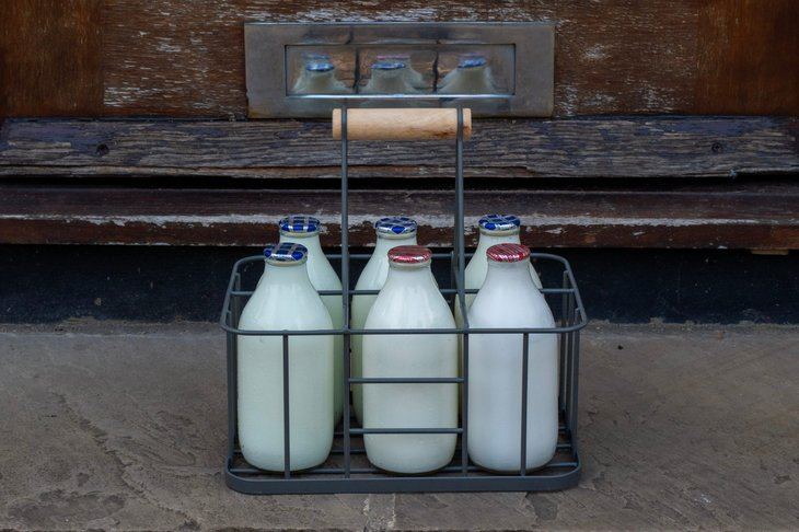Milk delivered in an old-fashioned tray of glass containers