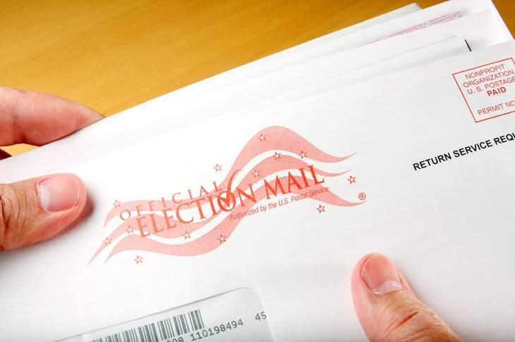 A close-up picture of a mail-in ballot for an election