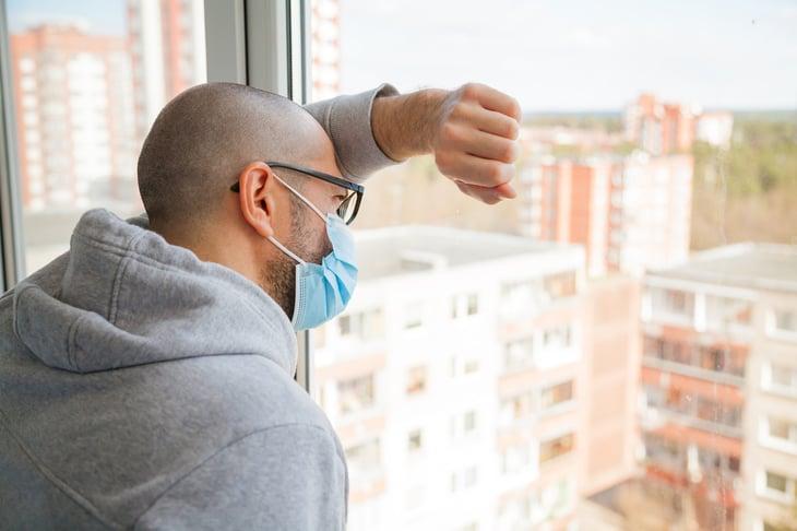 man quarantined at home