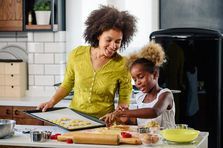 mother baking with her child