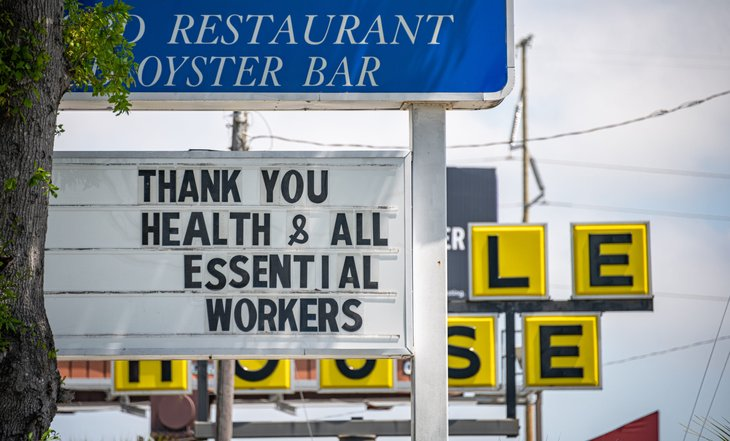 Thank you sign for health and essential workers