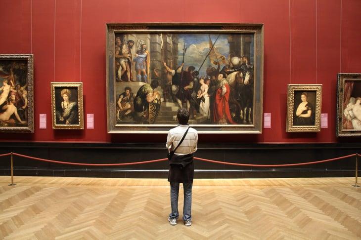 Tourist at an art museum