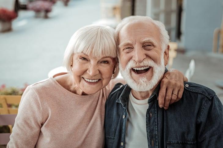 Seniors couple man woman having fun happy