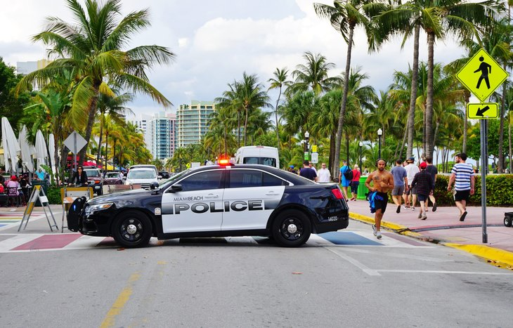 Police patrol car in Miami Beach, Florida