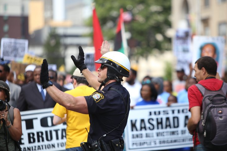 police officer at a protest in Newark, New Jersey