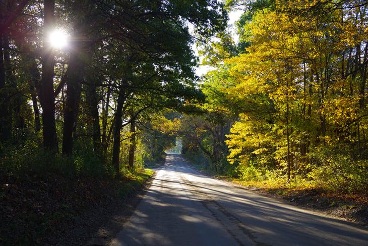 An empty street in Battle Creek, Michigan