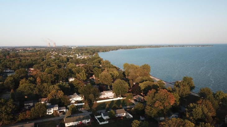An aerial view of Monroe, Michigan