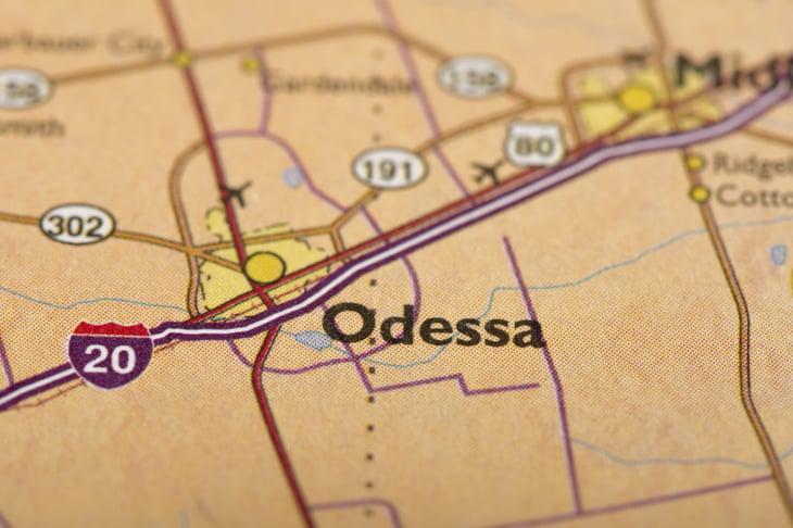 A map of Odessa, Texas