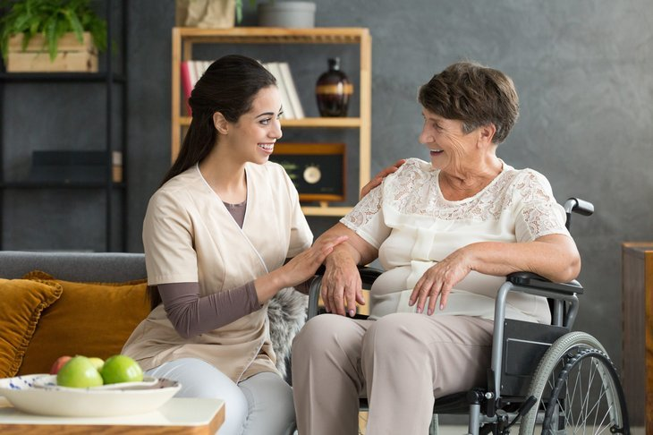 senior receiving long-term care