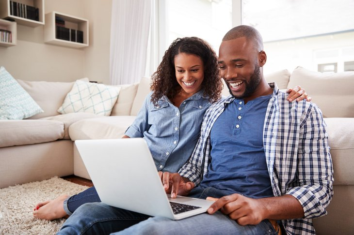 Couple using the internet