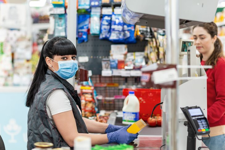 Store cashier in mask