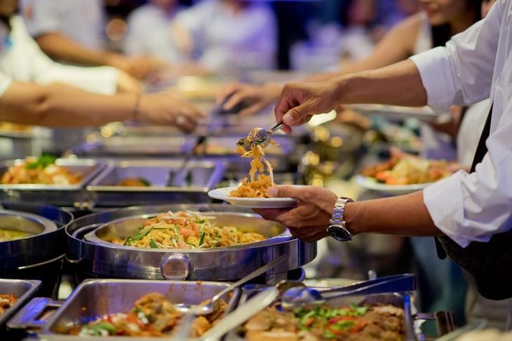 Buffet food at a restaurant