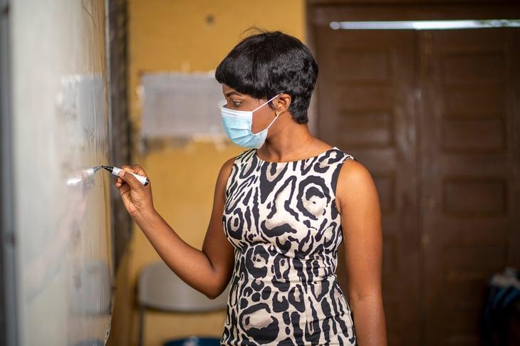 Teacher in a mask