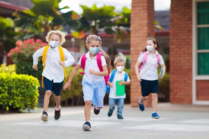 Students in masks at school