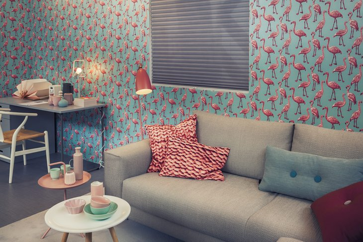 Living room with ugly wallpaper