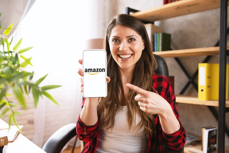 Woman shopping on Amazon on her phone