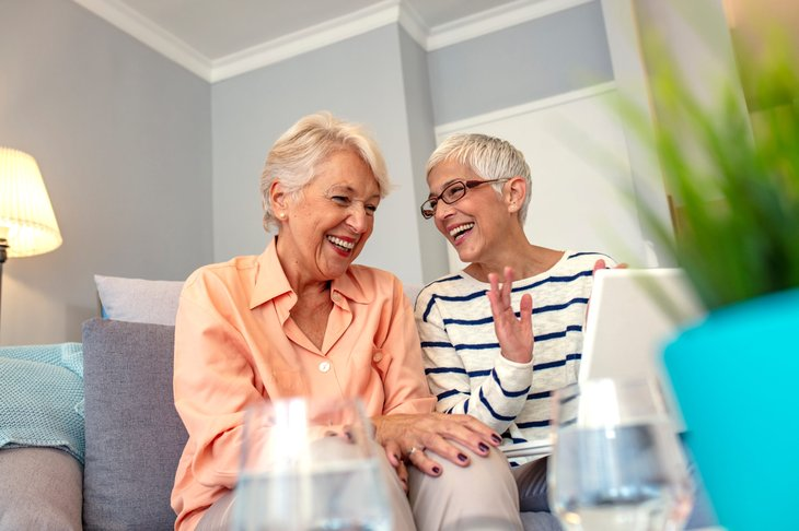 Happy retirees at home