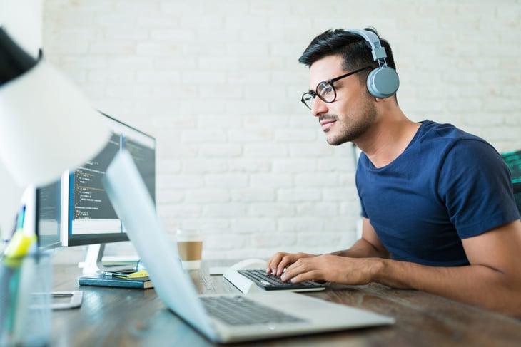 Male computer programmer or software developer
