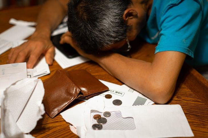 Broke man overwhelmed by bills