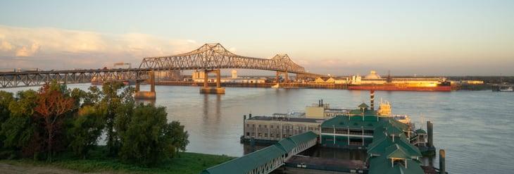 Horace Wilkinson Bridge, West Baton Rouge Parish to Baton Rouge in East Baton Rouge Parish